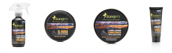 v.l.:  G-MAX Universal Footwearproofer, G-Wax, G-MAX Leather Conditioner und Paste Wax